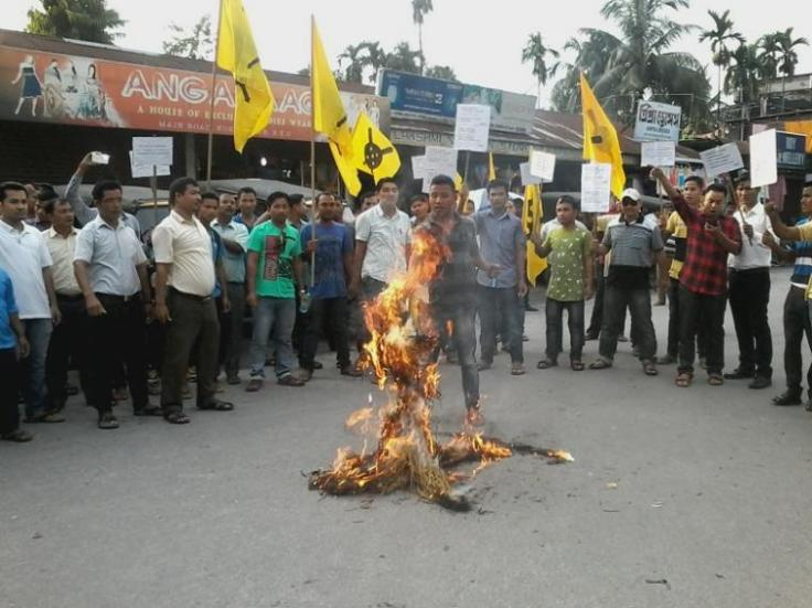 absu burns effigy - Hansraj Gangaram Ahir